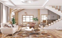 Interior da rendição moderna da casa 3d imagens de stock royalty free