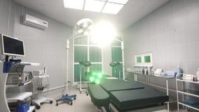 Interior da revisão do fundo da sala de operações moderna no hospital filme
