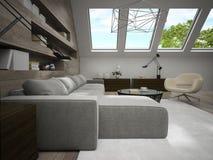 Interior da sala à moda 3D da mansarda que rende 3 Fotografia de Stock