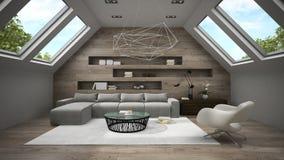 Interior da sala à moda 3D da mansarda que rende 2 Imagens de Stock