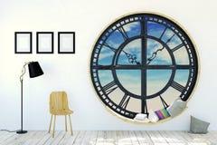 Interior da sala branca na decoração minimalista com a janela redonda do maquinismo de relojoaria do metal Imagens de Stock Royalty Free
