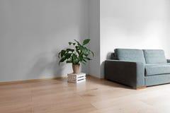 Interior da sala com o assoalho de madeira brilhante com parede cinzenta, co moderno Foto de Stock Royalty Free