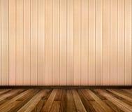 Interior da sala com quadros de madeira listrados do papel de parede e do ouro Fotos de Stock Royalty Free