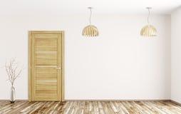 Interior da sala com rendição de madeira da porta 3d Imagem de Stock