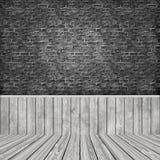 interior da sala 3D com a parede de tijolo do grunge e o assoalho de madeira ilustração do vetor
