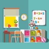 Interior da sala da criança do pré-escolar ou do estudante da escola ilustração stock