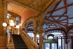 Interior da sala de concertos, palácio da música Catalan, Barcelona, Espanha imagens de stock royalty free