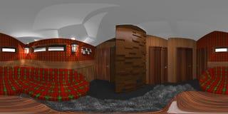 Interior da sala de Hdri com ilustração da tartã 3d Fotos de Stock