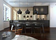 Interior da sala de jantar e da cozinha modernas Imagens de Stock Royalty Free