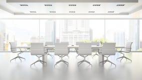 Interior da sala de reuniões branca limpa 3D que rende 2 Fotos de Stock