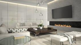 Interior da sala de visitas com a chaminé à moda 3D que rende 2 Imagens de Stock Royalty Free