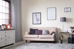 Interior da sala de visitas com elementos do sofá e da decoração fotos de stock royalty free
