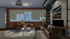 Interior da sala de visitas com a janela grande no sótão 3D Imagem de Stock Royalty Free
