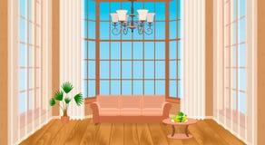 Interior da sala de visitas com janelas grandes Projeto moderno do sótão claro com revestimento de madeira, sofá, candelabro Foto de Stock