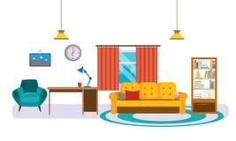 Interior da sala de visitas com mobília, acessórios e objetos diários ilustração royalty free