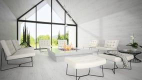 Interior da sala de visitas 3D do projeto moderno que rende 7 Fotos de Stock