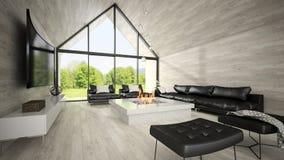 Interior da sala de visitas 3D do projeto moderno que rende 4 Imagem de Stock Royalty Free