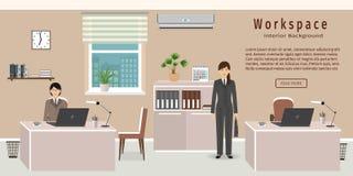 Interior da sala do escritório que inclui dois espaços de trabalho e empregados de mulheres ilustração stock