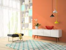 Interior da sala do projeto moderno com o vaso vermelho 3D que rende 2 Foto de Stock
