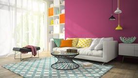 Interior da sala do projeto moderno com a parede roxa 3D que rende 3 Foto de Stock