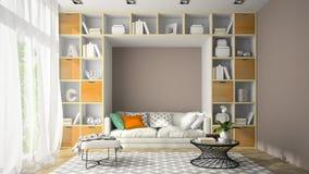 Interior da sala do projeto moderno com rendição da parede 3D da prateleira Imagem de Stock Royalty Free