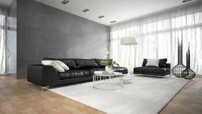 Interior da sala moderna com o sofá preto 3D que rende 2 Imagens de Stock