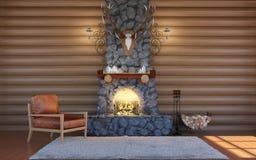 Interior da sala na construção da cabana rústica de madeira com chaminé de pedra e a poltrona de couro retro Fotografia de Stock Royalty Free