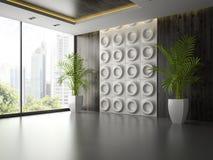 Interior da sala vazia com o painel de parede e a palma 3D que rendem 2 Fotografia de Stock