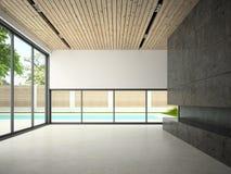 Interior da sala vazia com rendição da piscina 3D Foto de Stock Royalty Free