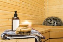 Interior da sauna Imagem de Stock
