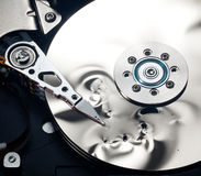 Interior of damaged hard drive Royalty Free Stock Photos