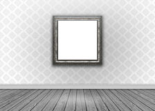Interior with damask wallpaper with blank picture frame Stock Images