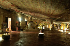 Interior of Dambulla Golden Temple in Sri Lanka Royalty Free Stock Images