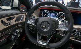 Interior dashboard Mercedes AMG SLS sports car. FRANKFURT, GERMANY - SEP 16, 2015: Interior view of a Mercedes AMG SLS sports car howcased at the Frankfurt IAA Stock Images