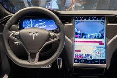 Interior dashboard Tesla Model S P100D electric car. PARIS - OCT 2, 2018: Interior dashboard view of theTesla Model S P100D electric car showcased at the Paris stock photography