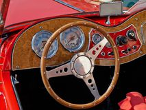 Interior and dashboard on a vintage sports car Stock Image