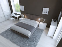 Interior de alta tecnología del dormitorio Imágenes de archivo libres de regalías