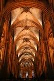 Interior de Barcelona/Catedral Imagem de Stock