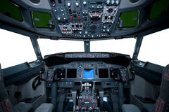 Interior de Boeing, opinião da cabina do piloto Fotografia de Stock Royalty Free