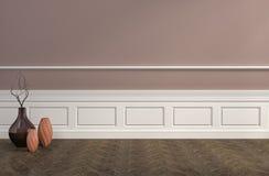 Interior de Brown con los floreros ilustración 3D ilustración del vector