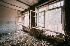 Interior de construção abandonado Desastres de Chernobyl Fotografia de Stock