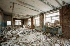 Interior de construção abandonado Desastres de Chernobyl Fotos de Stock