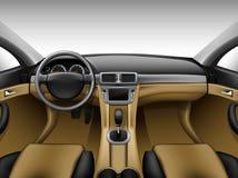 Interior de cuero beige ligero del coche Imagen de archivo libre de regalías