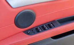 Interior de cuero rojo del coche Foto de archivo libre de regalías