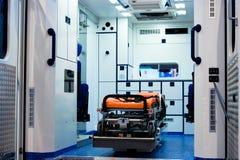 Interior de la ambulancia Fotos de archivo libres de regalías