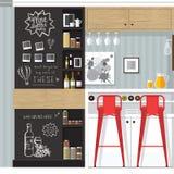 Interior de la barra de la cocina Fotografía de archivo