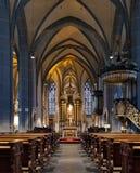 Interior de la basílica del St. Lamberto en Düsseldorf Foto de archivo