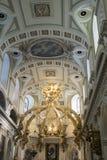 Interior de la basílica de Notre Dame, la ciudad de Quebec, Canadá imagen de archivo libre de regalías