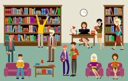 Interior de la biblioteca con la gente y los estantes de librería Educación imagen de archivo libre de regalías