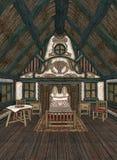 Interior de la cabaña pintoresca stock de ilustración
